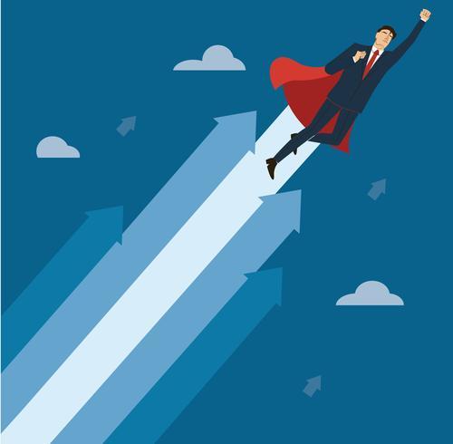 un uomo d'affari con mantello rosso al vettore di successo, illustrazione di concetto di business