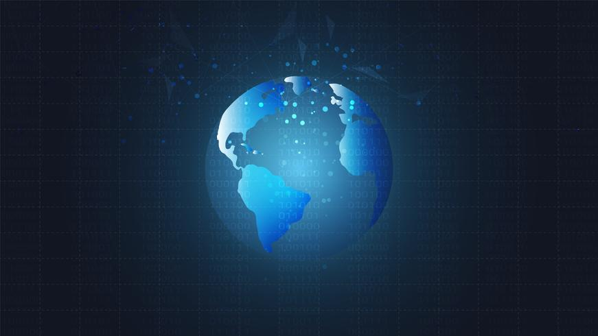 Global network connection with world map background, Symbol of International communication. vector