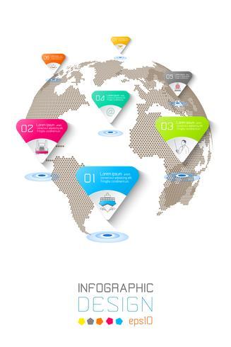 Siete círculos con infografías de iconos de negocios sobre fondo de mapa mundial.