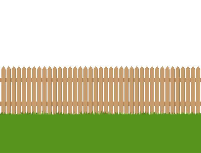 Sans soudure de clôture en bois et d'herbe verte isolé sur fond blanc vecteur