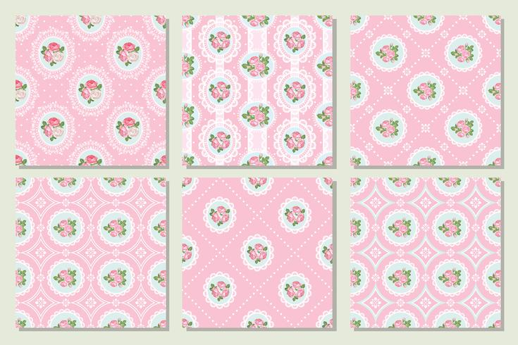 Set collection of shabby chic rose seamless pattern background vector