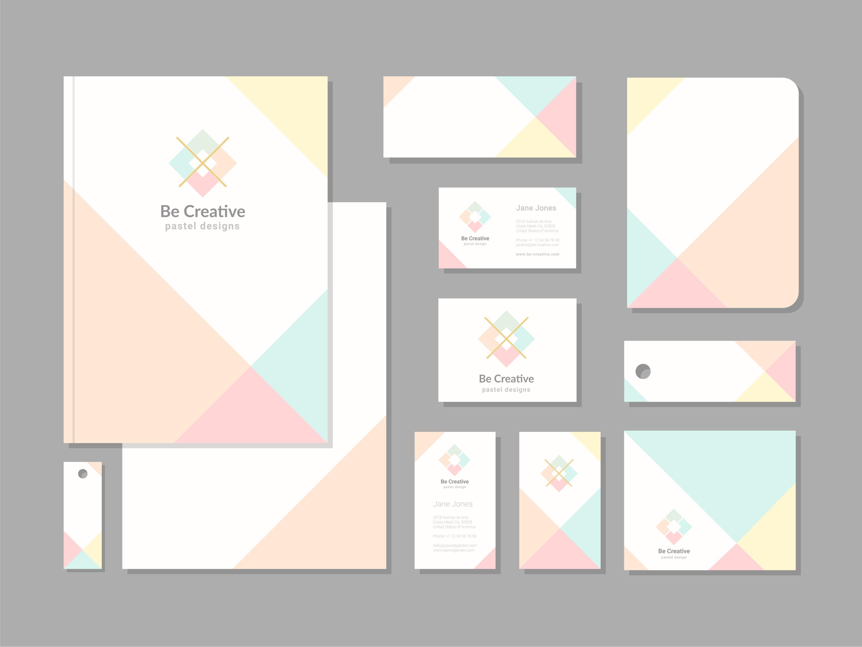 pastel geometric corporate identity template set