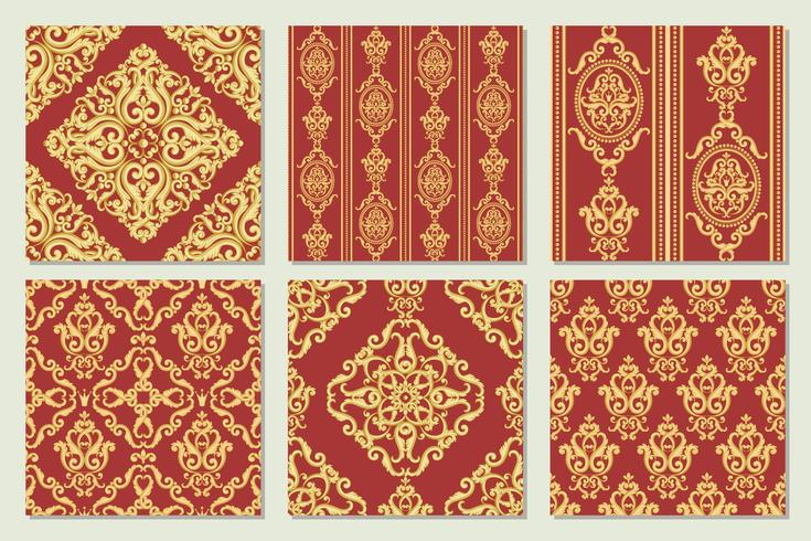 Set collection of seamless damask pattern. Gold and red texture vector