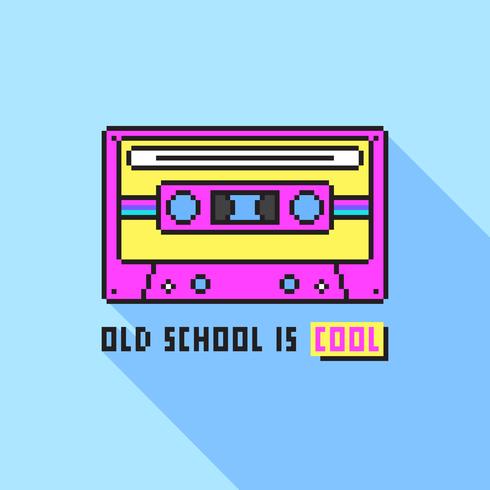 Arte del pixel de la cinta de casete audio de la escuela vieja vector
