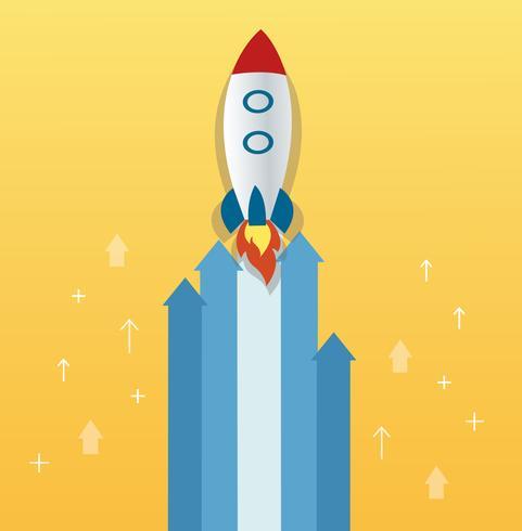 la fusée sur l'icône de la flèche, démarrage illustration de concept vecteur