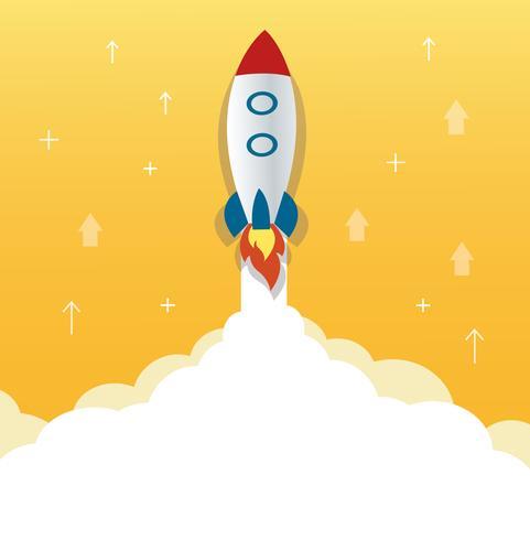 l'icône de la fusée et fond jaune, illustration de concept de démarrage d'entreprise vecteur