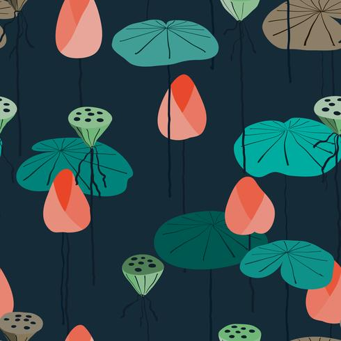 Seamless background lotus in pond. vector