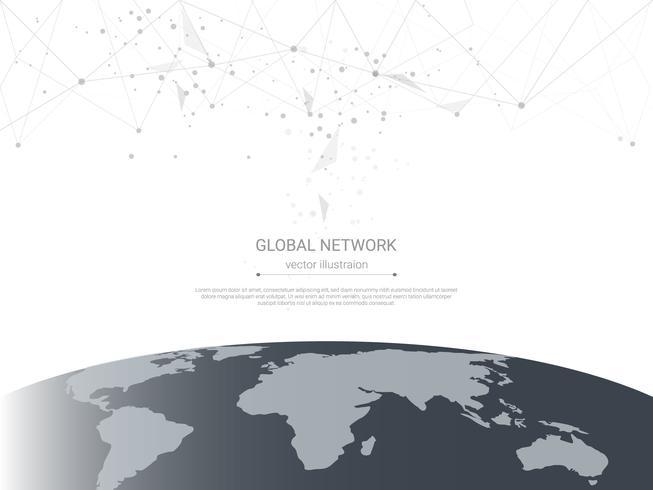 Conexión de red global, puntos de conexión de polietileno bajo y líneas con fondo de mapa mundial. vector