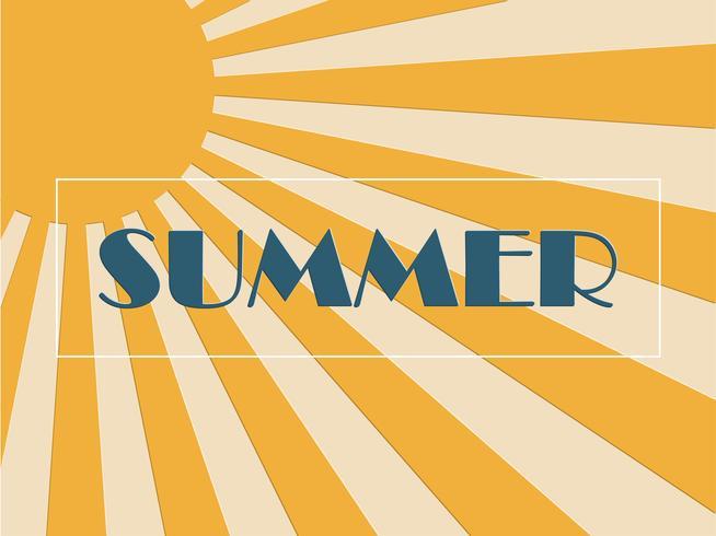 Concept de fond d'été avec sunburst en papier découpé et style pop art.