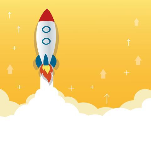 het raketpictogram en de gele achtergrond, opstarten bedrijfsconceptenillustratie