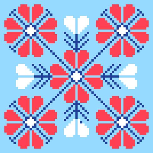Modèle Art Pixel Fleurs Folk Telecharger Vectoriel Gratuit