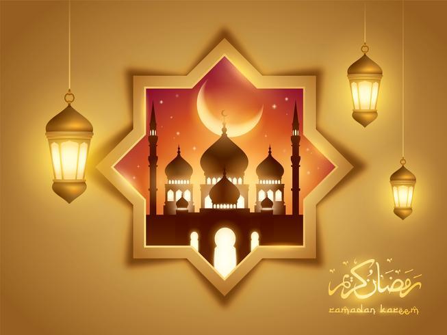 Priorità bassa islamica di Ramadan Kareem con la moschea e la lanterna araba
