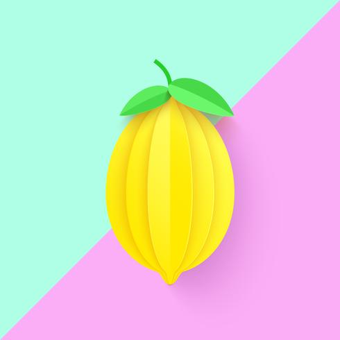 3D Paper Art Lemon Background
