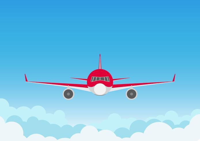 Vectorillustratie van vliegtuig op blauwe hemelachtergrond