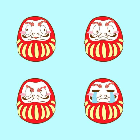 japan schattige dakuma emoji vector set