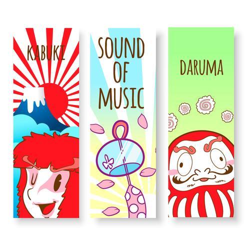 Japón lindo doodle etiqueta y fondo