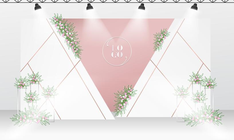 Plantilla de diseño de telón de fondo de boda con tema de color oro blanco y rosa.