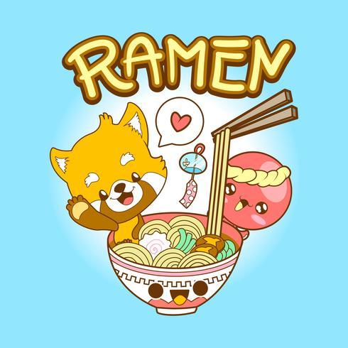 giappone carino doodle panda rosso e polpo mangiare ramen vettore