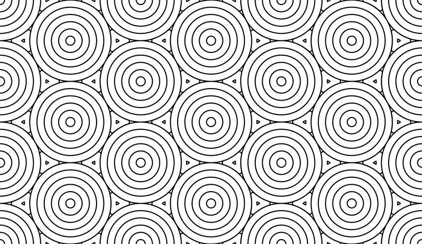 Monochrome doodle art deco abstracte naadloze achtergrond met cirkels lijn van de lijn.