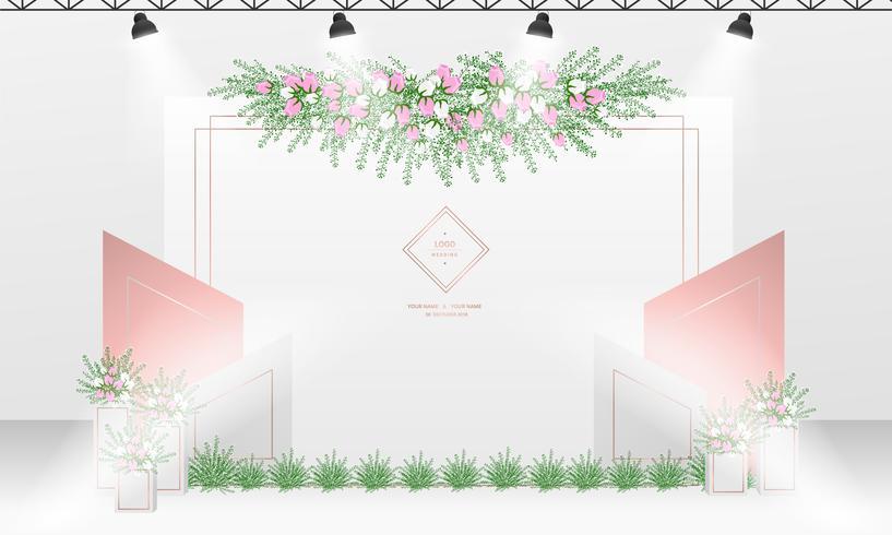 Modèle de conception de toile de fond de mariage avec thème de couleur or blanc et rose.