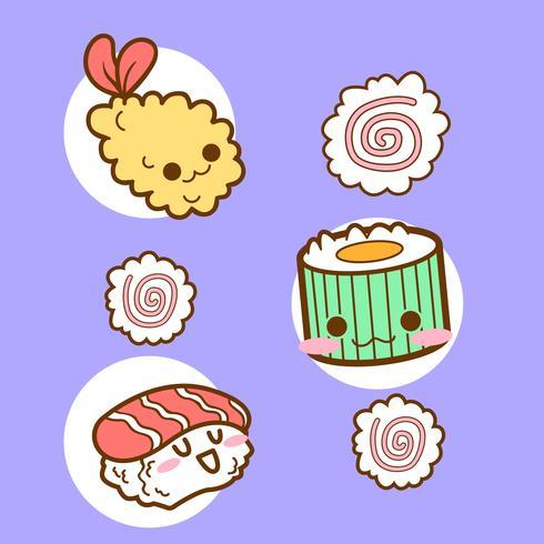 Japón lindo sushi tempura doodle vector