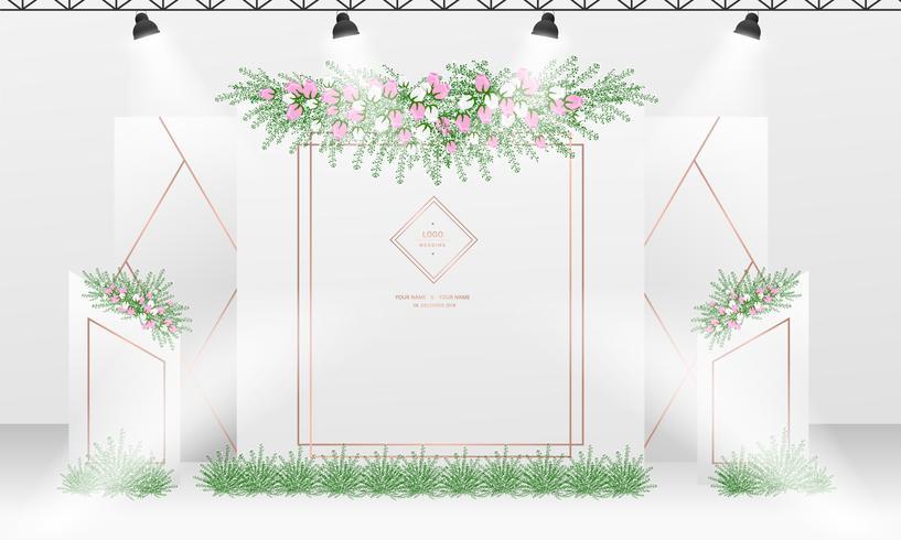 Bröllop bakgrundsdesign mall med vit och ros guldfärg tema.