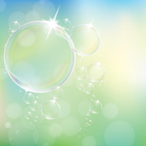 As bolhas de sabão realísticas com grupo da reflexão do arco-íris isolaram a ilustração do vetor eps10.