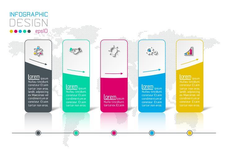 Bar rótulos infográfico com 5 passos.