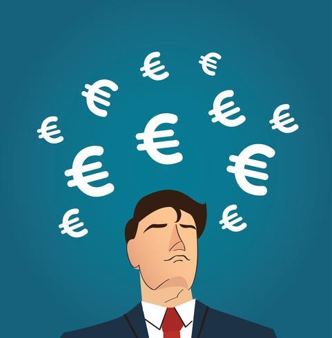 Empresario con ilustración de vector de icono euro