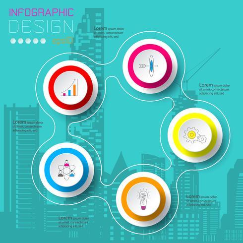 Cinq cercles avec des infographies icône affaires sur la ville de la silhouette.