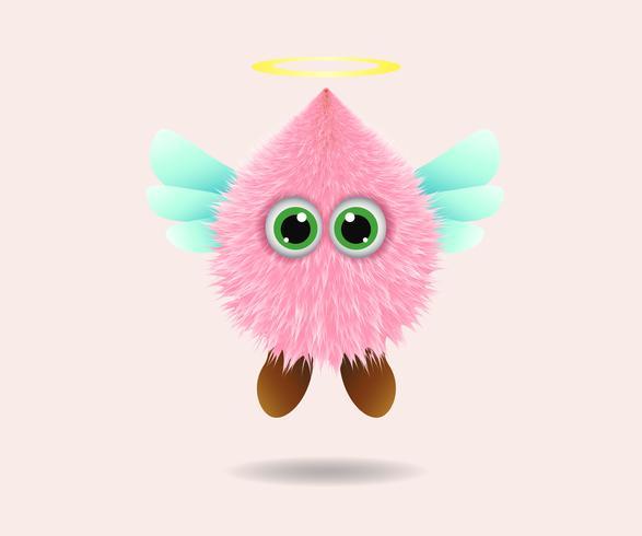 Ángel de piel de monstruo lindo rosa de dibujos animados - ilustración vectorial