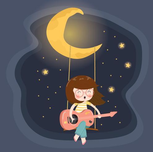 süße glückliche Brille Mädchen spielt Gitarre auf Schaukel unter dem Halbmond