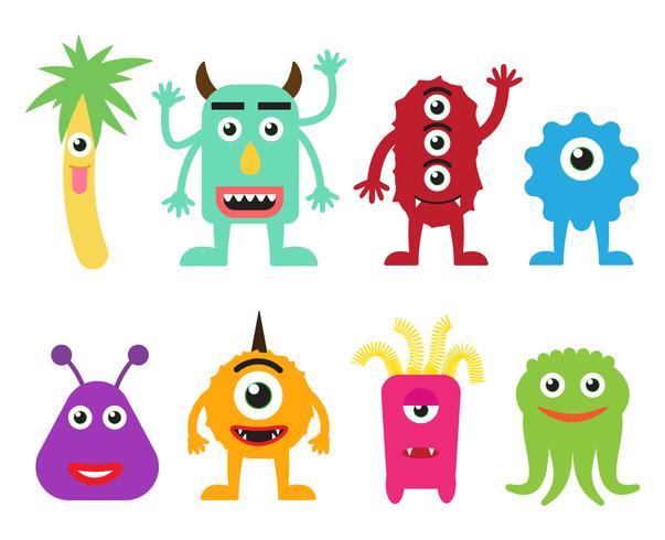 Coleção de ilustração em vetor monstros bonito dos desenhos animados