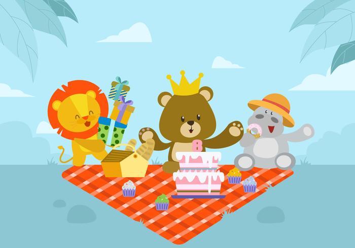 Gullig djurfödelsedagsvektorillustration
