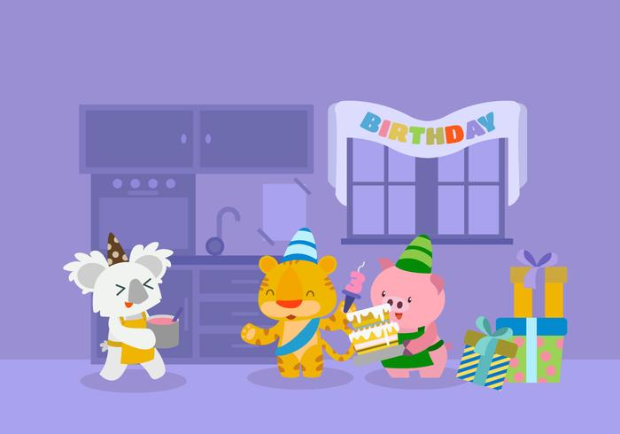 Animale sveglio che celebra l'illustrazione di vettore di compleanno