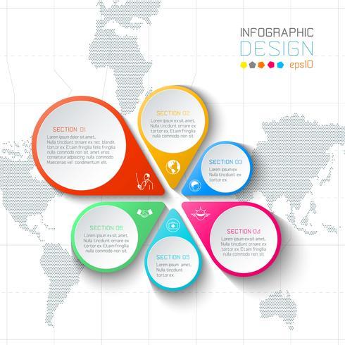 Infographie des étiquettes commerciales sur fond de carte mondial.