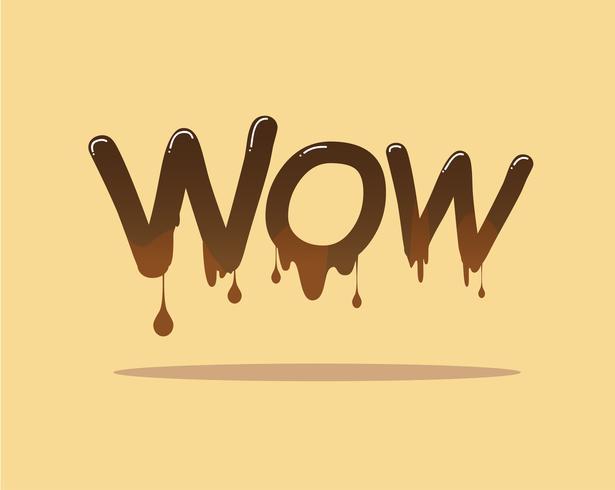 Wow signe avec flux et goutte de chocolat fondant brun ou liquide - illustration vectorielle