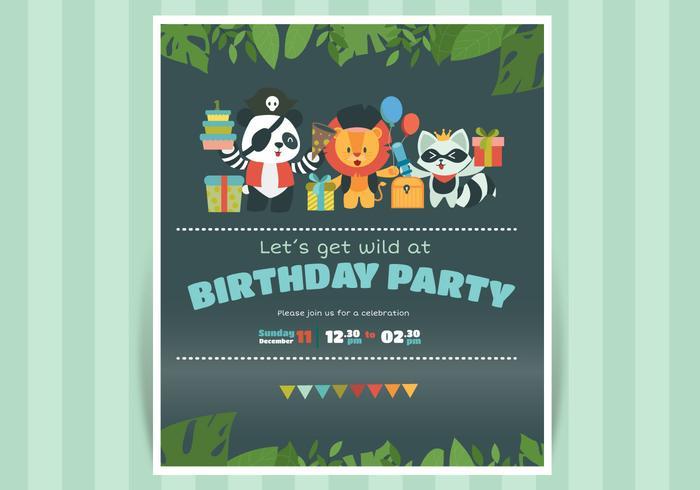 Invitación linda del cumpleaños con el ejemplo animal del vector del carácter