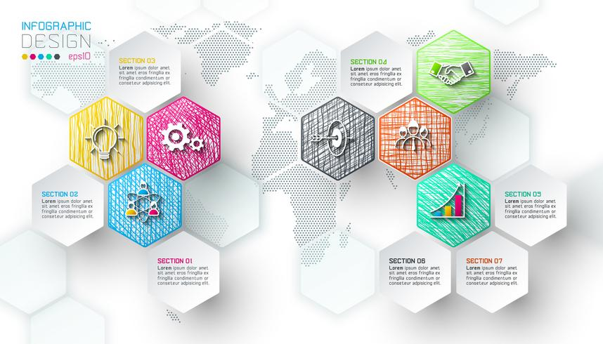 Business hexagon net labels shape infographic bar. vector