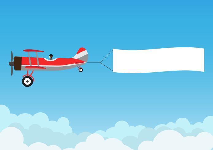 Retro- Flugzeugfliegen mit Werbungsfahne auf blauem Himmel - Vector Illustration