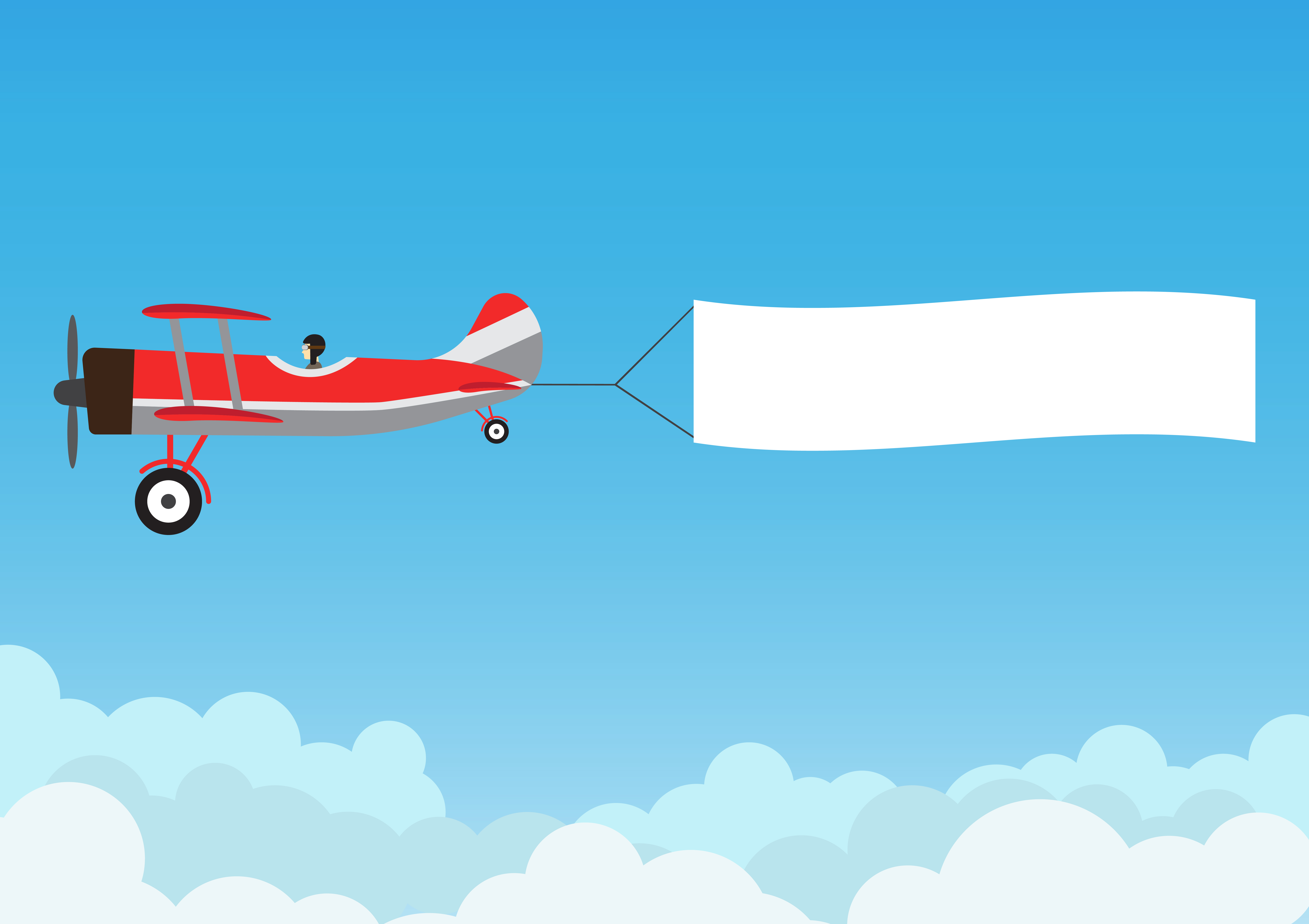 Retro airplane flying with advertising banner on blue sky ...