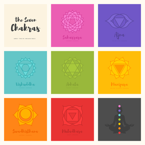 The Seven Chakras Symbol Vector Set