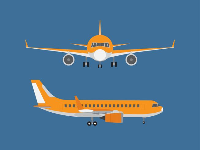 Vector illustration of airplane isolated on blue background