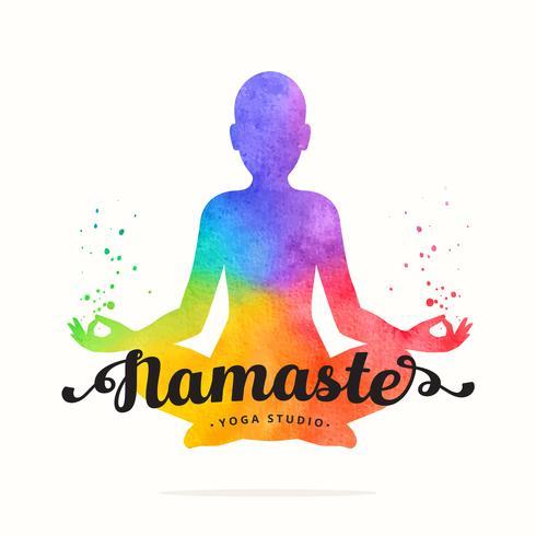 Yoga Meditating Woman Watercolor Silhouette