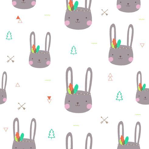 Cute bunny pattern seamless. Vector illustration.