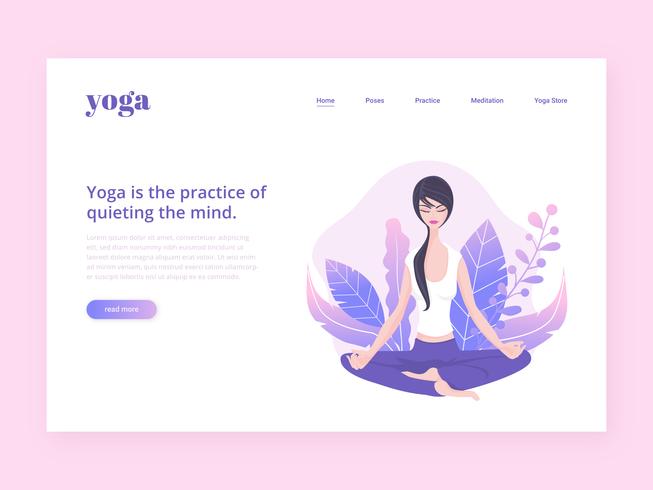 Plantilla de vector de página de aterrizaje de yoga