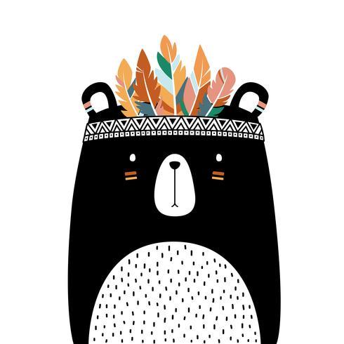 Urso bonito com tribal da mantilha isolado no fundo branco.