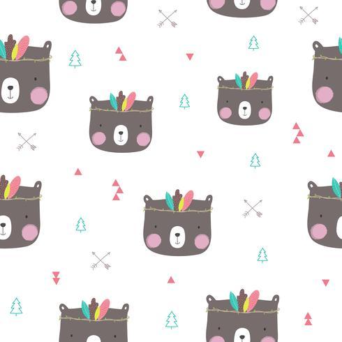 Motif de petit ours sans soudure. Illustration vectorielle