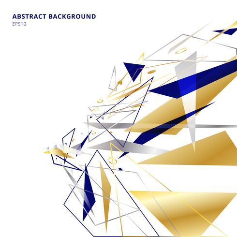 Abstrakta polygonala geometriska trianglar former och linjer guld, silver, blått färgperspektiv på vit bakgrund med kopia utrymme. Lyxig stil.