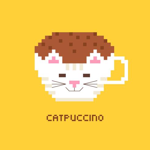 Pixel Art Coffee Cappuccino